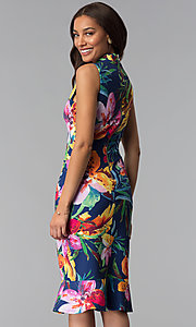 Image of knee-length blue party dress with tropical print. Style: JX-1XEE214H Back Image