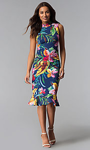 Image of knee-length blue party dress with tropical print. Style: JX-1XEE214H Detail Image 2