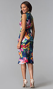 Image of knee-length blue party dress with tropical print. Style: JX-1XEE214H Detail Image 3