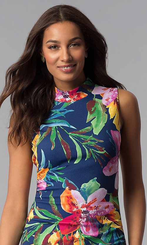 Image of knee-length blue party dress with tropical print. Style: JX-1XEE214H Detail Image 1