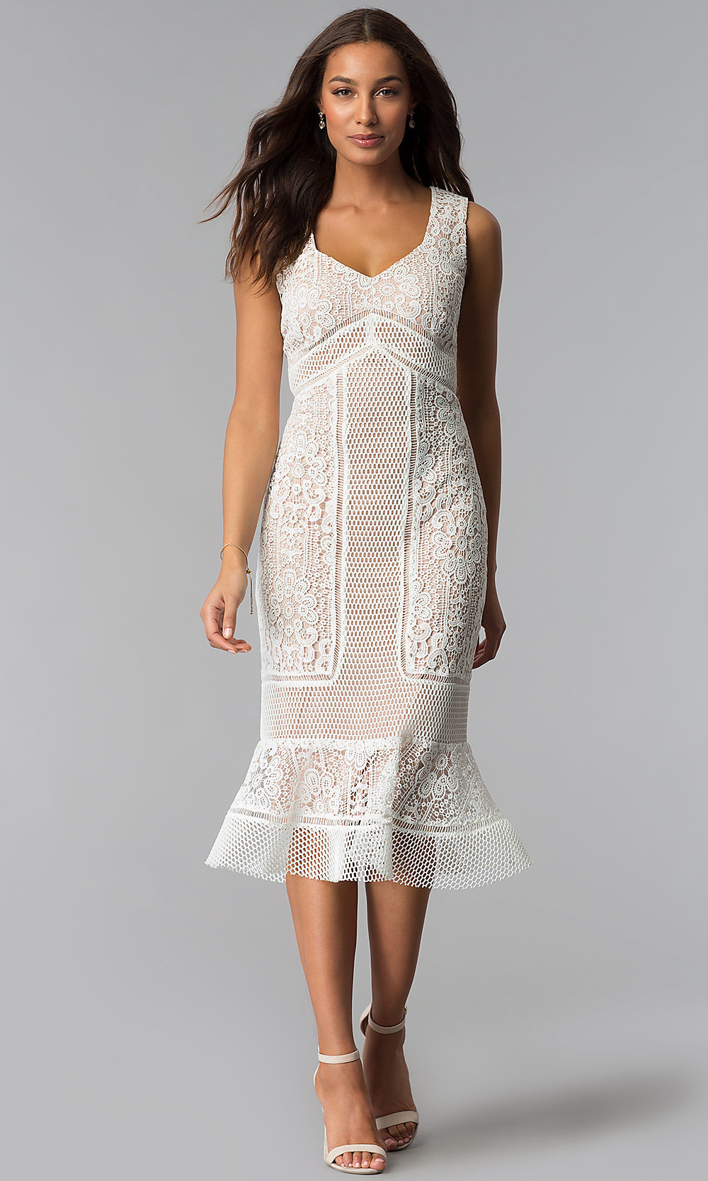 Lace Wedding Guest Dress With Queen Anne V Neckline