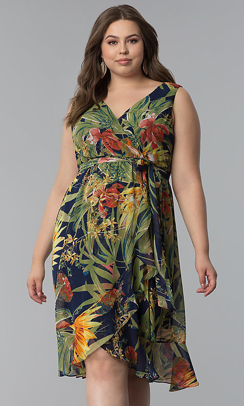 Plus-Size Tropical Print Wedding Guest Dress