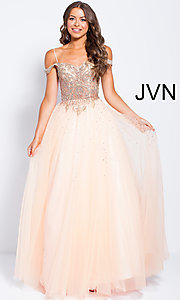 Image of sheer-beaded-bodice ballgown-style long prom dress. Style: JO-JVN-JVN58403 Front Image