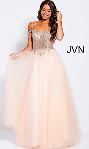 Image of sheer-beaded-bodice ballgown-style long prom dress. Style: JO-JVN-JVN58403 Detail Image 1