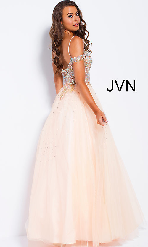 Image of sheer-beaded-bodice ballgown-style long prom dress. Style: JO-JVN-JVN58403 Back Image