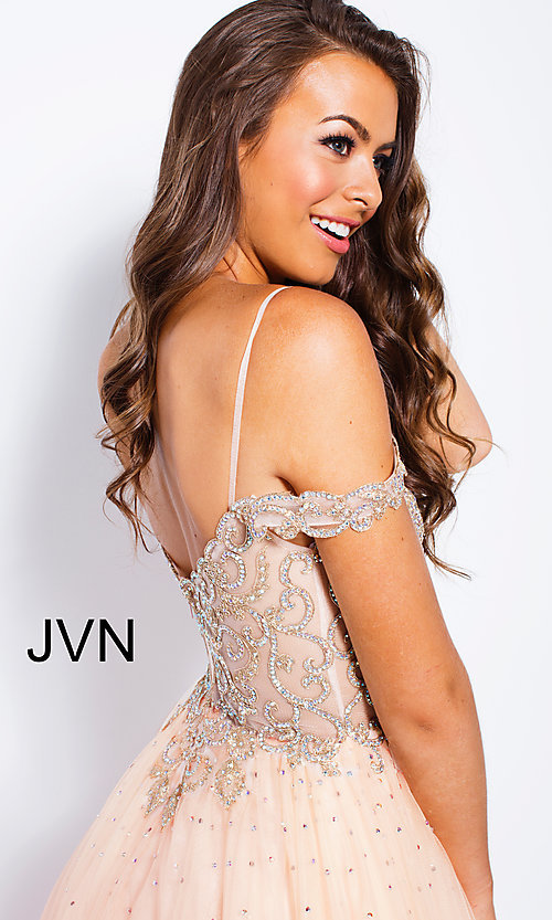 Image of sheer-beaded-bodice ballgown-style long prom dress. Style: JO-JVN-JVN58403 Detail Image 2