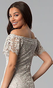 Image of knee-length off-shoulder champagne lace party dress. Style: JU-TI-T0052 Detail Image 2
