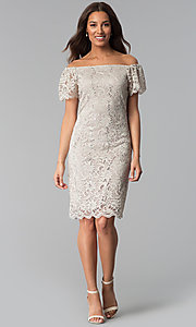 Image of knee-length off-shoulder champagne lace party dress. Style: JU-TI-T0052 Detail Image 3