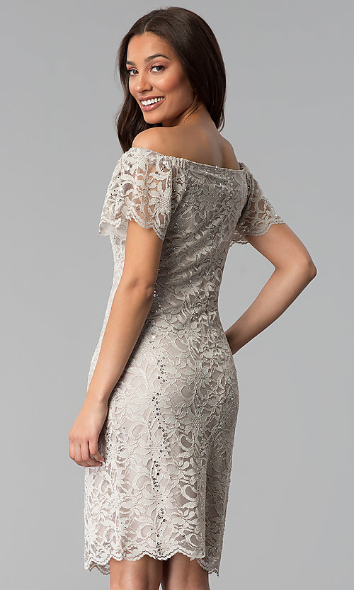 Image of knee-length off-shoulder champagne lace party dress. Style: JU-TI-T0052 Back Image
