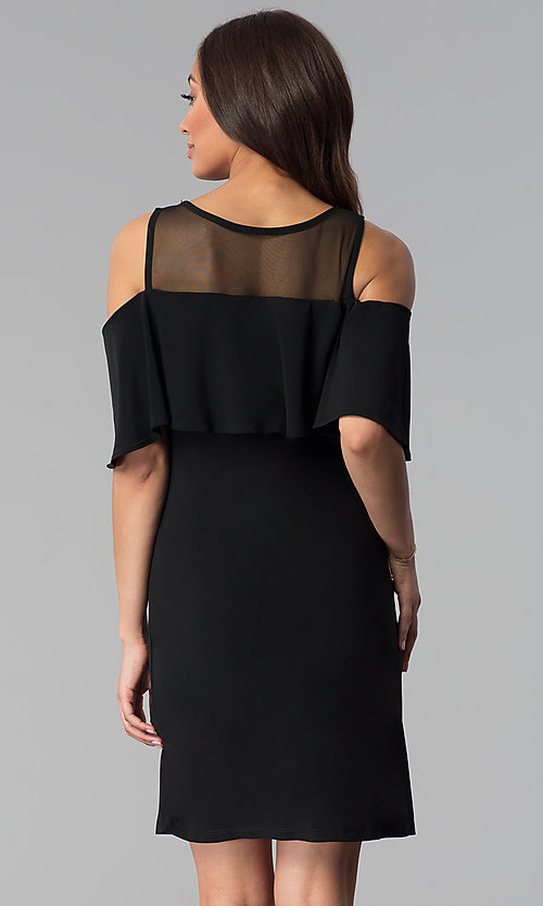 Image of short black cold-shoulder wedding-guest jersey dress. Style: JU-TI-T0517 Back Image
