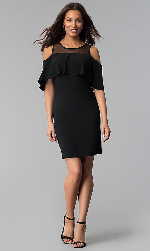 Image of short black cold-shoulder wedding-guest jersey dress. Style: JU-TI-T0517 Detail Image 3