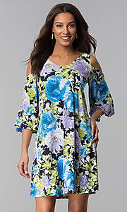 Image of cold-shoulder 3/4-sleeve short print party dress. Style: JU-TI-T1227 Front Image