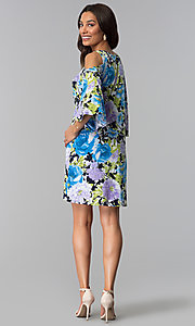Image of cold-shoulder 3/4-sleeve short print party dress. Style: JU-TI-T1227 Detail Image 2