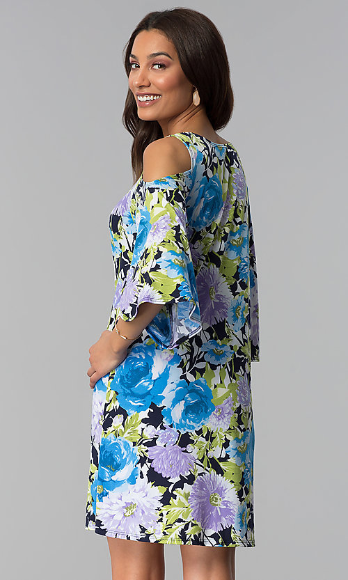 Image of cold-shoulder 3/4-sleeve short print party dress. Style: JU-TI-T1227 Back Image