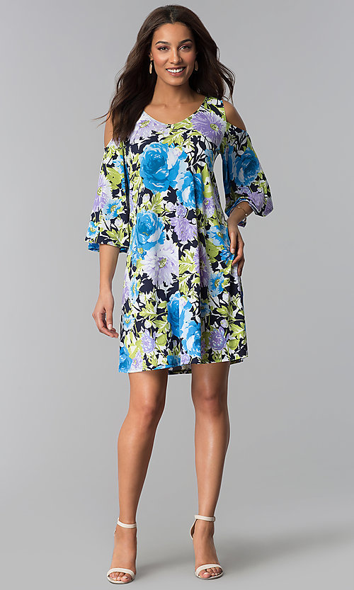 Image of cold-shoulder 3/4-sleeve short print party dress. Style: JU-TI-T1227 Detail Image 1