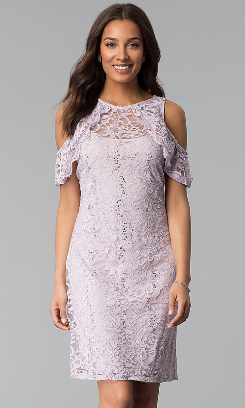 379c2bf269a Image of cold-shoulder lilac short sheath lace party dress. Style  JU-
