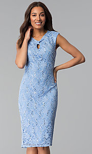 Image of wedding-guest sequin-lace knee-length blue dress. Style: JU-TI-T1252 Front Image