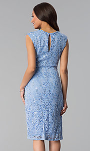 Image of wedding-guest sequin-lace knee-length blue dress. Style: JU-TI-T1252 Back Image