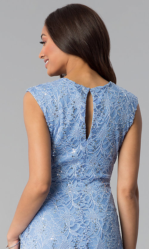 Image of wedding-guest sequin-lace knee-length blue dress. Style: JU-TI-T1252 Detail Image 2