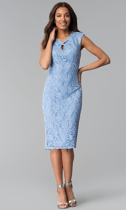 Image of wedding-guest sequin-lace knee-length blue dress. Style: JU-TI-T1252 Detail Image 3