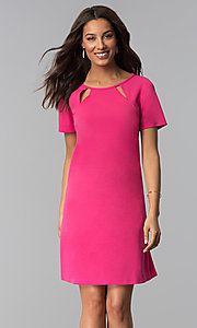 Image of pink short-sleeve short wedding-guest party dress. Style: JU-TI-T1646 Front Image