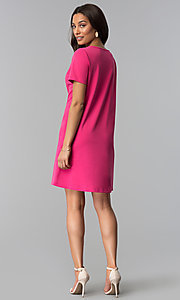 Image of pink short-sleeve short wedding-guest party dress. Style: JU-TI-T1646 Detail Image 2