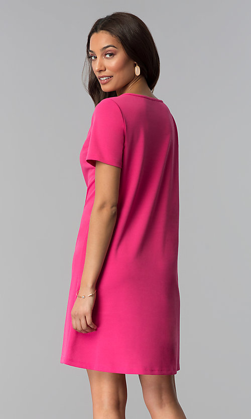 Image of pink short-sleeve short wedding-guest party dress. Style: JU-TI-T1646 Back Image