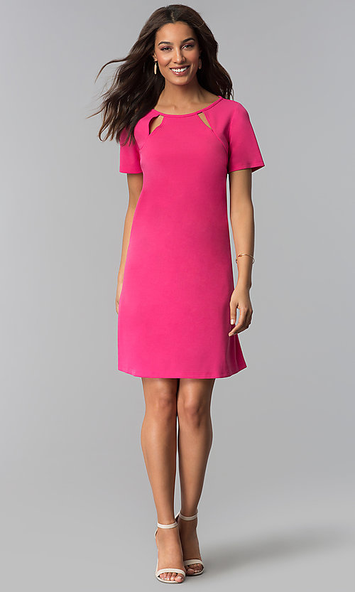 Image of pink short-sleeve short wedding-guest party dress. Style: JU-TI-T1646 Detail Image 1