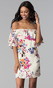 Image of floral-print short off-the-shoulder party dress. Style: BLH-DD1014 Detail Image 3