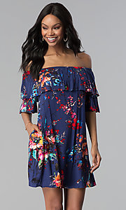 Image of floral-print short off-the-shoulder party dress. Style: BLH-DD1014 Front Image