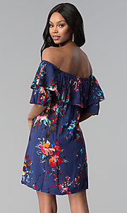 Image of floral-print short off-the-shoulder party dress. Style: BLH-DD1014 Back Image