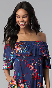 Image of floral-print short off-the-shoulder party dress. Style: BLH-DD1014 Detail Image 1