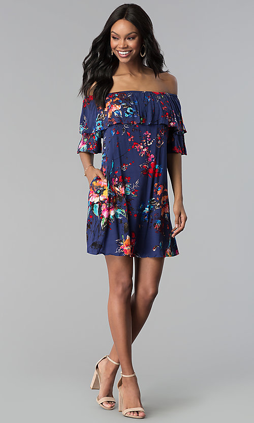 Image of floral-print short off-the-shoulder party dress. Style: BLH-DD1014 Detail Image 2