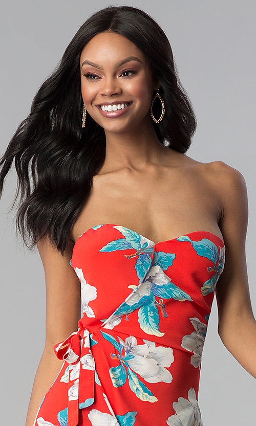 Image of strapless short red floral-print cruise party dress. Style: BLH-DD1031 Detail Image 1