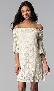 Image of off-the-shoulder short lace party dress with sleeves. Style: BLH-DD1097 Front Image