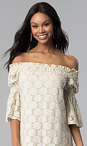 Image of off-the-shoulder short lace party dress with sleeves. Style: BLH-DD1097 Detail Image 1