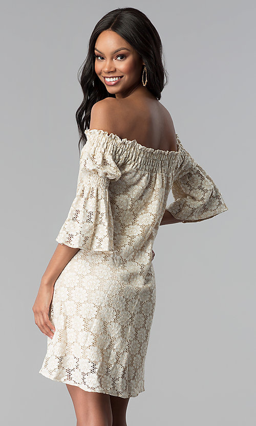 Image of off-the-shoulder short lace party dress with sleeves. Style: BLH-DD1097 Back Image
