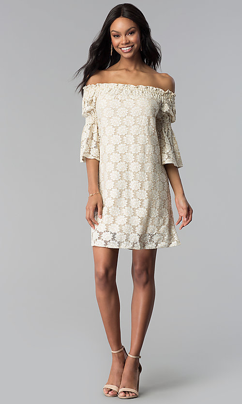 Image of off-the-shoulder short lace party dress with sleeves. Style: BLH-DD1097 Detail Image 3