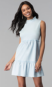 Image of short high-neck sky blue cotton casual party dress. Style: BLH-DD1428 Front Image