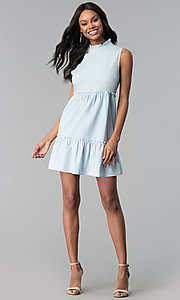 Image of short high-neck sky blue cotton casual party dress. Style: BLH-DD1428 Detail Image 3