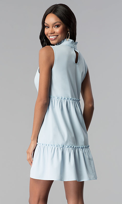 Image of short high-neck sky blue cotton casual party dress. Style: BLH-DD1428 Back Image