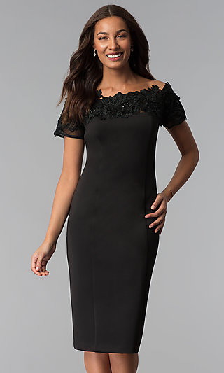 Short Black Off-the-Shoulder Wedding-Guest Dress