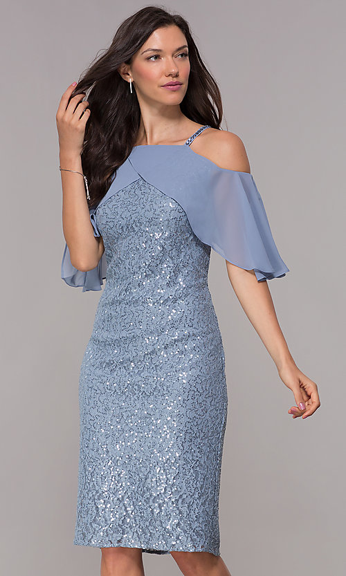 Image of sequin-lace coronet blue short wedding-guest dress. Style: IT-SL119101 Front Image