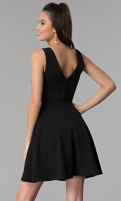 Image of v-neck short black cruise party dress. Style: CT-7711QQ2AT3 Back Image