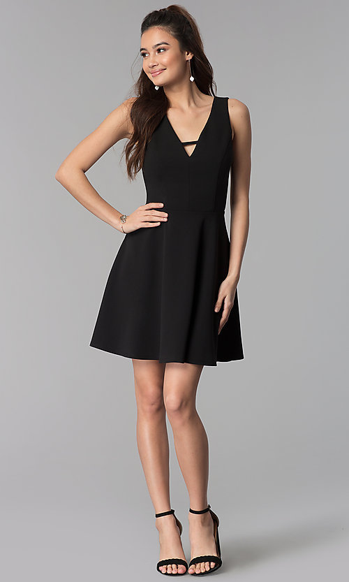 Image of v-neck short black cruise party dress. Style: CT-7711QQ2AT3 Detail Image 3