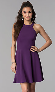 Image of wedding guest short party dress in grape purple. Style: CT-7711NH1BT3 Front Image
