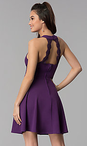 Image of wedding guest short party dress in grape purple. Style: CT-7711NH1BT3 Back Image