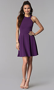 Image of wedding guest short party dress in grape purple. Style: CT-7711NH1BT3 Detail Image 3
