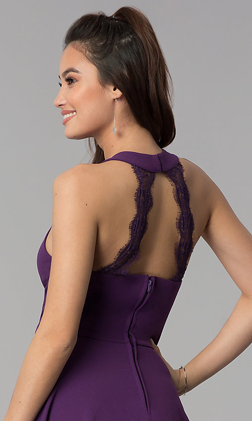Image of wedding guest short party dress in grape purple. Style: CT-7711NH1BT3 Detail Image 2