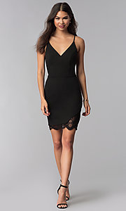 Image of v-neck little black dress with lace back. Style: CT-7711NQ3BT3 Detail Image 3